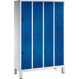 CP garderobeskab, 4x2 rum, Ben, Hængelås, Grå/Blå