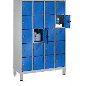 CP garderobeskab, 4x5 rum, Ben,Cylinderlås,Grå/Blå