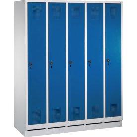 CP garderobeskab, 5x1 rum, Sokkel,Hængelås,Grå/Blå