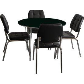 Kantinesæt t/ 4 pers. Sort bord, sorte stole