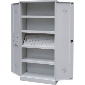 Kemiskab, 4 hylder, (BxDxH) 92x42x195cm, grå