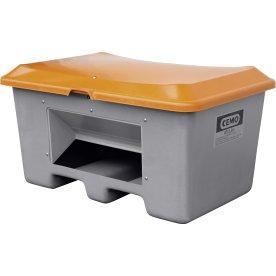 Salt-/sandbeholder 400 L,bund-/gaffelåb,Grå/orange