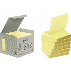 Post-it Green Z-notes 76 x 76mm, genbrug, gul
