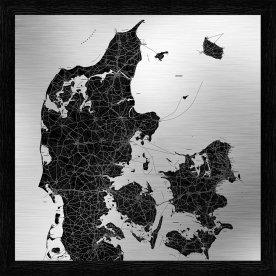 Danmarkskort sort ramme H90xB90 cm