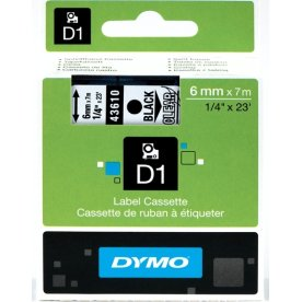 Dymo D1 labeltape 6mm, sort på klar