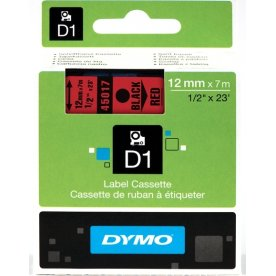 Dymo D1 labeltape 12mm, sort på rød