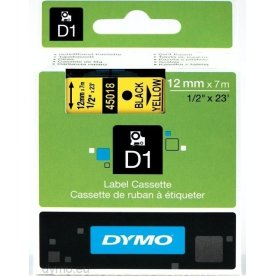 Dymo D1 labeltape 12mm, sort på gul
