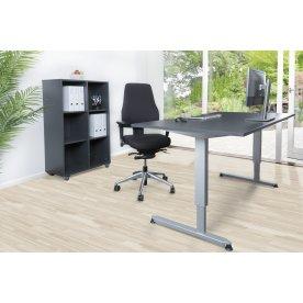 Stay møbelsæt bord m/alu stel, reol og kontorstol