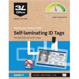 3L ID-kort, 104x74mm, horizontal, m. clip, 10 stk.