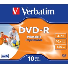 Verbatim DVD-R 4,7GB printable, 10 stk