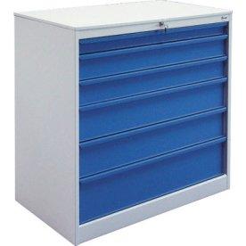 Skuffeskab 6 skuffer, 105,1x100x58,5 cm, Grå/Blå