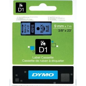 Dymo D1 labeltape 9mm, sort på blå