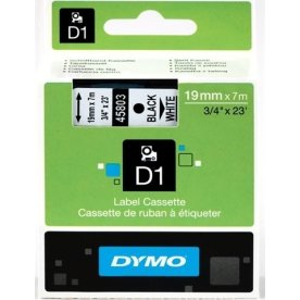 Dymo D1 labeltape 19mm, sort på hvid
