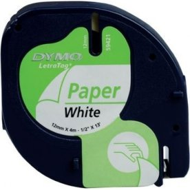Dymo Letratag labeltape, papir, 12mm, sort på hvid