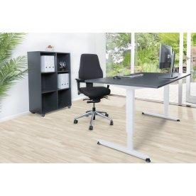 Stay møbelsæt bord m/hvidt stel reol og kontorstol