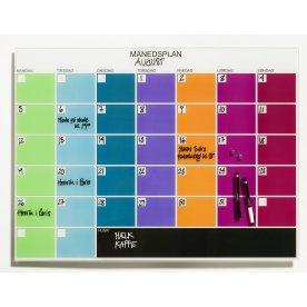 Magnetisk glastavle med månedsplan, multifarvet