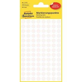 Avery 3175 manuelle etiketter, 8mm, hvide, 416stk