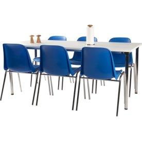 Lena Basic kantinesæt m/ 6 blå stole og bord
