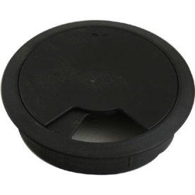 Kabelroset i sort plast, ø 80 mm