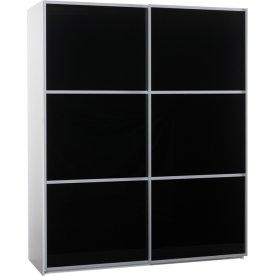Garderobeskab m. skydedøre, Sort glas, B 180 cm