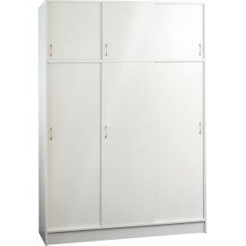 Garderobeskab m. 6 skydedøre, hvid ask, B 150cm