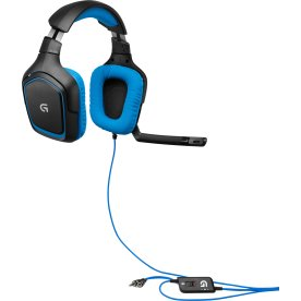 Logitech G430 gamer headset, blå/sort