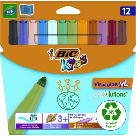 Bic kids Visacolor XL tuscher, 12 stk. ass