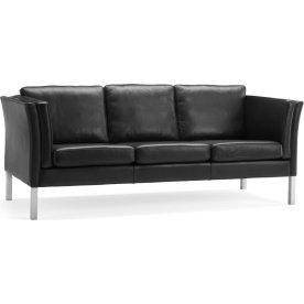Oslo Sofa 3 pers, Sort læder, L 206 cm