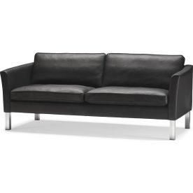 Rock Sofa 3 pers, Sort læder, L 206 cm