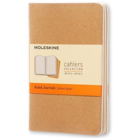 Moleskine Cah. Notesbog Pocket, linj., kraft, 3stk