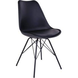 Oslo spisebordsstol, sort m. sort stålstel