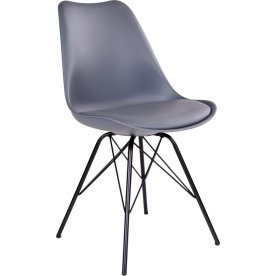 Oslo spisebordsstol, grå m. sort stålstel
