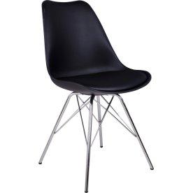Oslo spisebordsstol, sort m. krom stel
