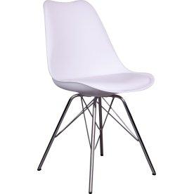Oslo spisebordsstol, hvid m. krom stel