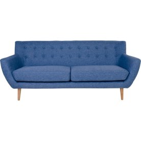 Jupiter 3 personers sofa, blå m. træben