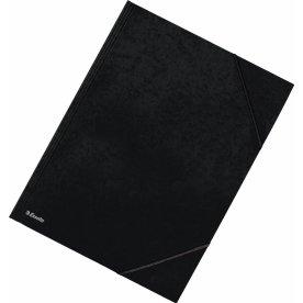 Esselte elastikmappe m/klap, A4 karton, sort