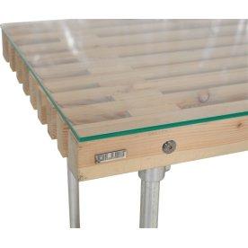 Glasplade med poleret kant til stort tralle bord
