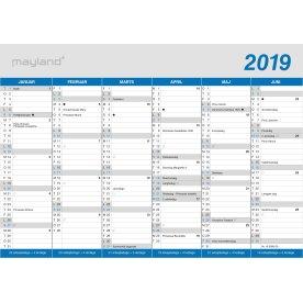 Mayland A5 kontorkalender, 2x6 måneder, klassisk