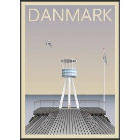 Danmark Bellevue, 50x70 cm, inkl. sort ramme