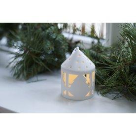 Olina LED lanterne, Træ, Hvid