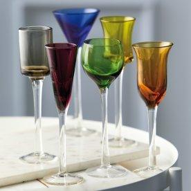 Lyngby Glas Snapseglas på fod, 6 stk., ass. farver
