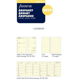 Filofax Refill Personal Årspakke Uge/opslag, 2019