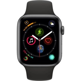 Apple Watch Series 4, 44mm grå med sort rem