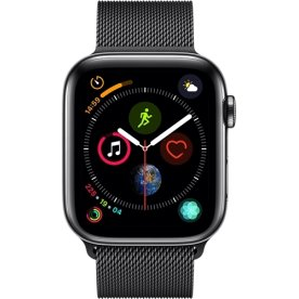 Apple Watch Series 4 Cellular, 44mm, sort, stålrem