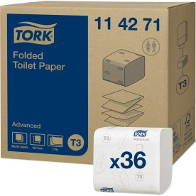 Tork T3 Advanced Toiletpapir i ark, 36 pk.