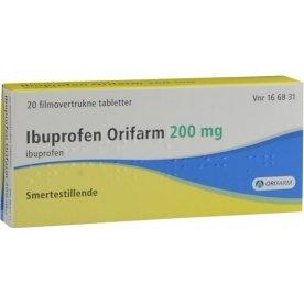 Ibuprofen Tabletter, 200 mg, 20 stk. Orifarm