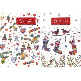 Julekort, strømper, træer, klokker, 8 stk.
