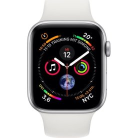 Apple Watch Series 4 GPS, 40mm sølv, hvid rem
