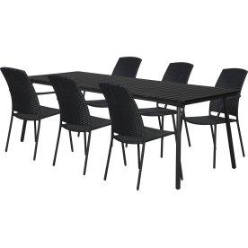 Milano havemøbelsæt, 6 pers., Vera Stabelstole