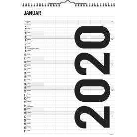 Mayland Familiekalender, Black & White, 6 kolonner